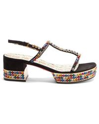 Gucci - Mira Crystal-embellished Suede Sandals - Lyst