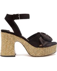 Miu Miu | Buckle-detail Suede And Satin Platform Sandals | Lyst
