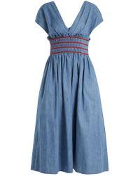 Miu Miu - V-neck Smocked Cotton-chambray Dress - Lyst