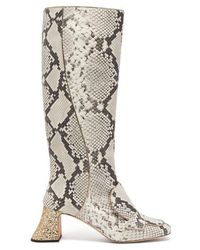Rochas - Pascal Glitter-heel Leather Boots - Lyst
