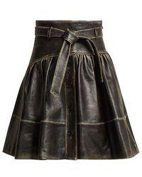 Miu Miu - - Distressed Leather A Line Skirt - Womens - Black - Lyst