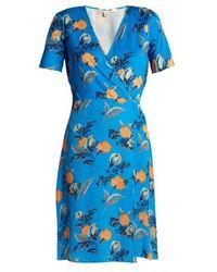 Diane von Furstenberg - Silese Floral-print Short-sleeved Silk Wrap Dress - Lyst