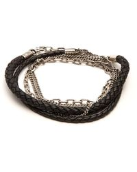Title Of Work   5-wrap Leather And Sterling-silver Bracelet   Lyst