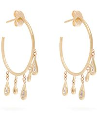 Jacquie Aiche - 14kt Gold & Diamond Hoop Earrings - Lyst
