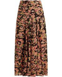Raey - Godet Front Neon Pansy Print Silk Skirt - Lyst