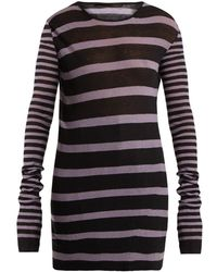 Haider Ackermann Round Neck Striped Cotton Blend Sweater