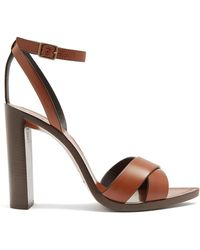 Saint Laurent - Tanger Wood And Leather Sandals - Lyst