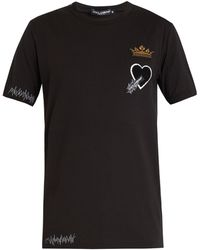 Dolce & Gabbana - Heart And Crown-patch Cotton T-shirt - Lyst