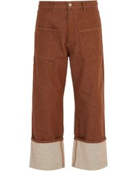 Loewe - Patch-pocket Turn-up Jeans - Lyst