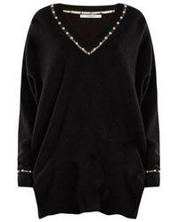 Givenchy - Pearl-embellished V-neck Wool-blend Jumper - Lyst