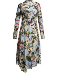 Erdem - Sinclaire Facette Dream Bird Print Silk Midi Dress - Lyst