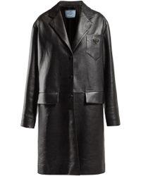 Prada - Logo Plaque Single Breasted Leather Coat - Lyst