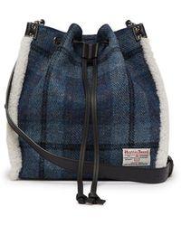 JW Anderson - Drawstring Shearling-trim Harris Tweed Bucket Bag - Lyst