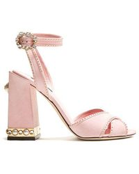 Dolce & Gabbana - Embellished Suede Sandals - Lyst