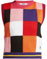 MSGM - Pull en maille patchwork multicolore - Lyst