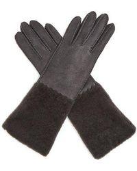 Bottega Veneta - Suede And Shearling Gloves - Lyst
