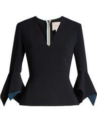 Roksanda | Prila V-neck Fluted-sleeve Crepe Top | Lyst