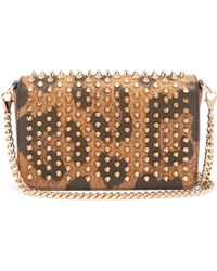 Christian Louboutin - Zoomi Leopard Print Leather And Spike Clutch - Lyst