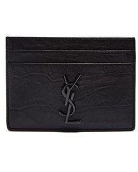 Saint Laurent - Monogram Crocodile-effect Leather Cardholder - Lyst