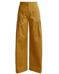 Duro Olowu - High-rise Wide-leg Cotton-denim Trousers - Lyst