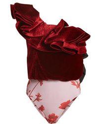Johanna Ortiz - Lorca One-shoulder Velvet And Jersey Bodysuit - Lyst