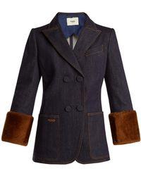 Fendi - Heart Shearling Trimmed Denim Jacket - Lyst