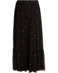 Jupe by Jackie | Fuji Floral-embroidered Silk-chiffon Maxi Skirt | Lyst