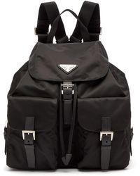 Prada - Classic Leather Trimmed Nylon Backpack - Lyst