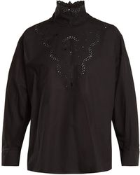 Fendi - High Neck Broderie Anglaise Cotton Blouse - Lyst