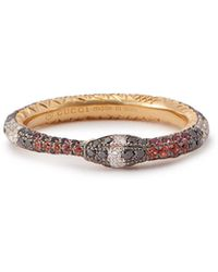 Gucci - Ouroboros 18kt Gold Diamond & Sapphire Ring - Lyst