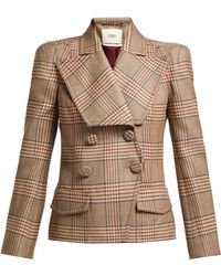 Fendi - Double Breasted Checked Wool Blazer - Lyst