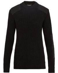 CALVIN KLEIN 205W39NYC - Patch-detail Ribbed-knit Cotton-blend Jumper - Lyst