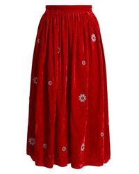 Jupe by Jackie - Strock Floral-embroidered Silk-velvet Skirt - Lyst