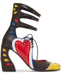7de22288c Gucci. Lesley Zebra Print Heels. $878. Flannels · Marques'Almeida Buckle  Fastening Block Heel Appliqué Leather Pumps