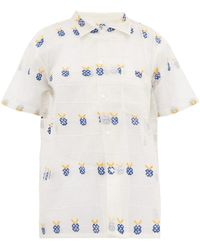 Bode Apple Embroidered Sheer Cotton Bowling Shirt - White