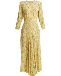 Raey - Bracelet Sleeve Acid Tree Print Silk Dress - Lyst
