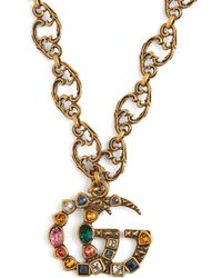 Gucci - Gg Crystal Embellished Pendant - Lyst