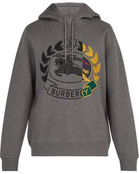 Burberry - Knight Embroidered Hooded Sweatshirt - Lyst