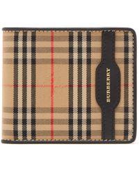 Burberry - Portefeuille à deux volets motif Haymarket check - Lyst