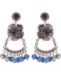 Erdem - Bead-embellished Flower-drop Clip-on Earrings - Lyst
