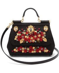 7e4a28b9a2c1 Lyst - Dolce   Gabbana Sicily Brocade And Leather Cross-body Bag in ...