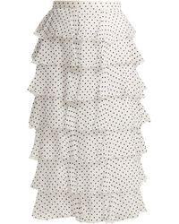 Rodarte - Flocked Polka Dot Chiffon Skirt - Lyst