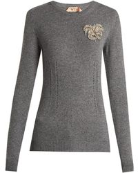 N°21 - Crystal-appliqué Cashmere Knit Sweater - Lyst