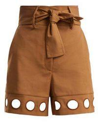 Sara Battaglia - Cut-out Detail Cotton-blend Shorts - Lyst