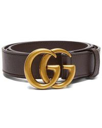 Gucci - Leather Belt With Double G Buckle - Lyst