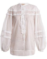 N°21 - Ruffle-trimmed Cotton Shirt - Lyst