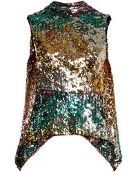 Halpern - Sequin Embellished High Neck Sleeveless Top - Lyst