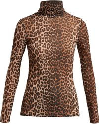 Ganni - Tilden Roll Neck Leopard Print Mesh Top - Lyst