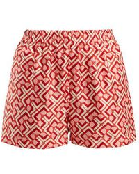 LaDoubleJ - Domino Print Silk Shorts - Lyst