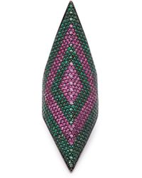 Lynn Ban - Prism Sapphire & Tsavorite Rhodium Plated Ring - Lyst